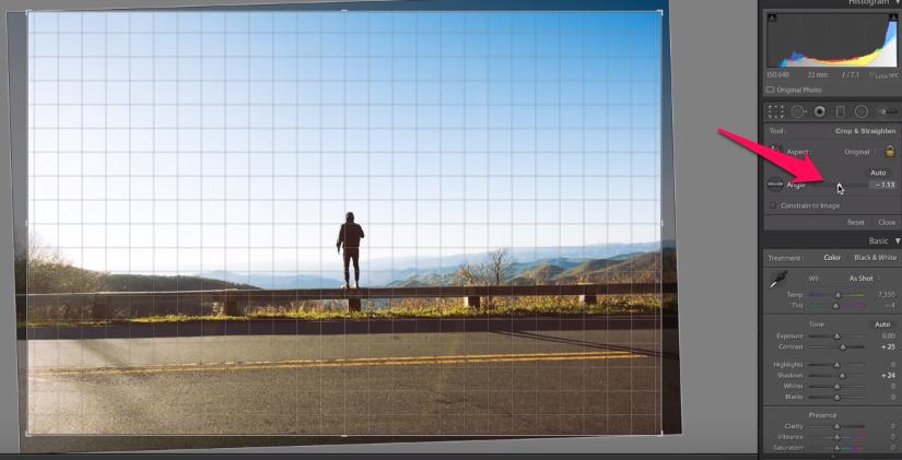 horizon of a photo straight